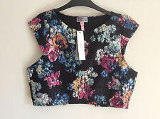 Women's Lipsy Dark Floral Cap Sleeved Crop Top, Size 16, BNWT