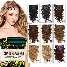 "70g Remy Clip In Real Human Hair Double Weft Body Wave Hair Extensions 14""-20"""