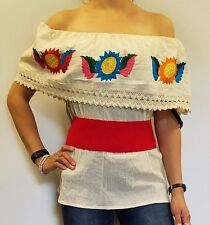 Multicolor Off Shoulder Flower /Blouse/ Top/ Peasant MEXICAN EMBROIDERED