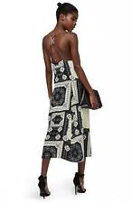 TOPSHOP Bandana Print Midi Dress Ring Back Slipdress Monochrome US sz 4 fits 0-2