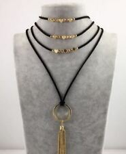 Women Fashion Leather Chain Multilayer Long Necklace Gothic Necklace  Jewelry