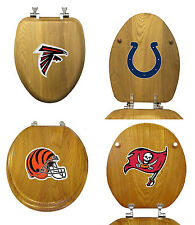 FC335 NFL LOGO TEAM THEME OAK FINISH WOOD ROUND ELONGATED TOILET SEAT COVER LID