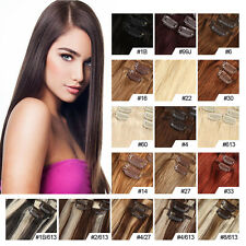 100% Natural Remy Clip in Hair Extensions Full Head Thick Long Human Hair 120g