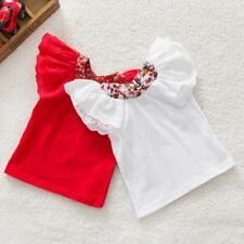 Girls Baby Floral Collar T-shirts Short Sleeve Tops Cute Blouse