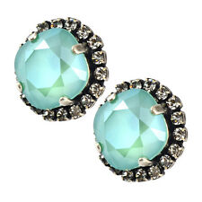 Nara Round 2 Layer Crystal Stud Earrings, Silver Plated with Swarovski