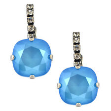 Nara Crystal Earrings, Silver Plated Leverback with Swarovski