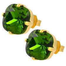 Nara Square Crystal Stud Earrings, Gold Plated Post with Swarovski