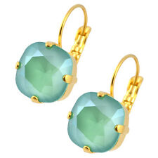 Nara Square Crystal Earrings, Gold Plated Leverback with Swarovski