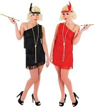 Ladies Black Red Glam Flapper 1920s 20s Hen Do Fancy Dress Costume Outfit 10-14