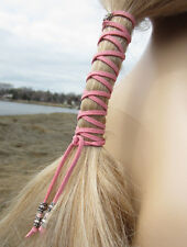 Leather Hair Ties Wraps Pink Ponytail Holders Bohemian Clothing Native American