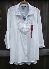 BANDOLINO WHITE COTTON CASUAL PEASANT BOHO BUTTON FRONT TUNIC TOP BLOUSE XL NEW