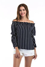 Women's Sexy Off Shoulder Speaker Long Sleeve Casual top Striped T-Shirt