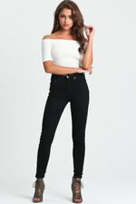 NEW - WOMENS HIGH WAISTED DENIM JEANS PANTS BLACK