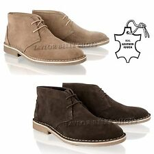 MENS REAL LEATHER SUEDE DESERT BOOTS CASUAL LACE UP CHELSEA OFFICE WORK SHOES