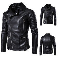 2017 Mens PU Leather Jacket Slim Fit Biker Motorcycle Autumn Winter Bomber Coat