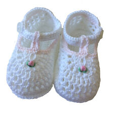 Baby Girl Booties Petit Ami White and Pink Crocheted  NWT 3/6m