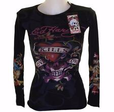 New Women's Ed Hardy Long Sleeve Specialty Stretch T Shirt Love Kills Slowly XS