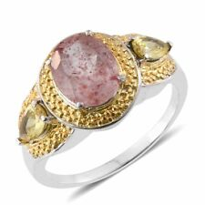 Cherry Quartz, Simulated Yellow Diamond ION Plated YG and Stainless Steel Ring (