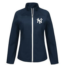 MLB New York Yankees Woman's Fashion Navy Blue Soft Shell Full Zip Winter Jacket