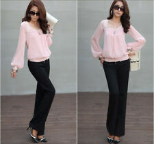Women's Solid Scoop Neck See Through Lantern Long Sleeve Chiffon Top Blouse