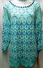 RUBY RD WOMEN PLUS SIZE 1X 3X TEAL WHITE BEADED NECK 3/4-SLEEVE RUCHED TOP SHIRT