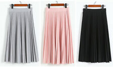 Women Pleated Retro Long Skirt Elastic Waist Chiffon Dance Dress #105b
