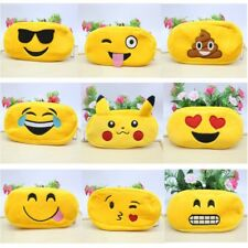 Emoji Yellow Cosmetic Pen Pencil Plush Bag Stationery Make Up Pouch Bag Case