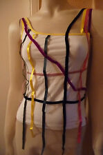 Miss Sixty Designer womans  Bizkit vest top WHITE / Multi Tagged £45 BNWT MED XL