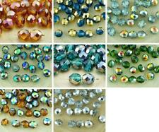 20pcs Crystal Metallic Half Round Faceted Fire Polished Spacer Czech Glass Beads