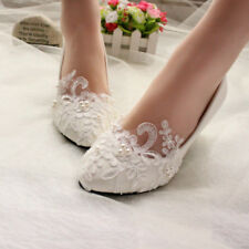 Women Pearl Flower Lace Wedding Shoes Prom Bridal Bridesmaid Flat Low Heel Shoes