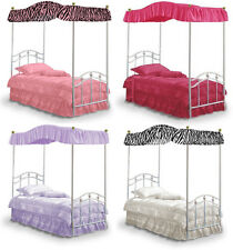 FC501 NEW TWIN SIZE PRINCESS BED CANOPY FABRIC TOP COVER RUFFLED DRAPE CURTAIN