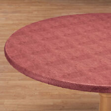 """ELASTICIZED Vinyl Weave Table Cover Round Oval/Oblong Fleece Backed """"COLORS!!"""" ~"""