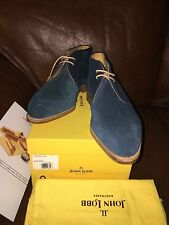 New John Lobb Shoes Ankle Leather Chukka Boots LOXTON Blue Suede UK 9 10 11