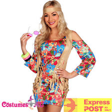 Ladies 60s 70s Retro Hippie Go Go Girl Disco Retro Hippy Costume Fancy Dress