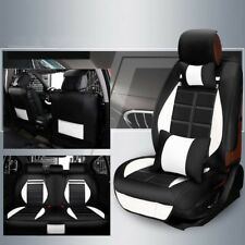 5-Seat Car PU Leather Car Seat Cover Cushion Headrest + Steering Wheel Cover