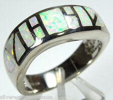 White Fire Opal Inlay Genuine 925 Sterling Silver Jewelry Band Ring Size 6,7,8,9