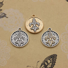 New 2/10pcs Rhinestone Anchor Inlay Round Charms Pendant Jewelry Findings