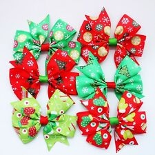 50x Christmas Hair Bow Clip Alligator Clips Girls Ribbon Kids Sides Accessories