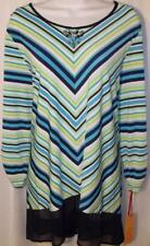 RUBY RD WOMEN PLUS SIZE 1X 3X 3/4 SLEEVE BEADED NECK LONG TUNIC TOP SHIRT BLOUSE