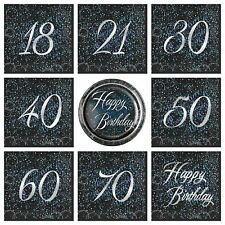 Blue Black Silver Sparkle Glitz Party Tableware Birthday Napkins Plates