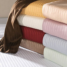 1000TC 100%Egyptian Cotton Fitted Sheet/Flat Sheet Choose Stripe Color US-Size.