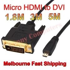 100% Brand New Micro HDMI Male to DVI-D M/M Adapter Cable Gold Plated 5M 3M AU