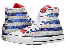 CONVERSE Chuck Taylor Sequin AMERICAN FLAG All Star Hi Top Sneakers Shoes SIZE 5