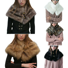 Women Faux Fur Shawl Shrug Coat Poncho Wrap  Stole Weddings Evening Gown Cape