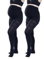 2 Pack Black Womens Opaque Maternity Tights Comfortable Soft Pregnancy Pantyhose