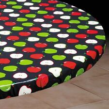 Vinyl Fitted Table Cover APPLE Elasticized Square SM MED LG Round Oval Oblong