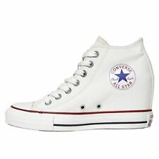 Converse Chuck Taylor Lux Mid White Womens Canvas Casual Ankle Wedge Trainers