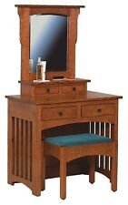 Amish Mission Arts & Crafts Vanity Dressing Makeup Table with Bench Solid Wood
