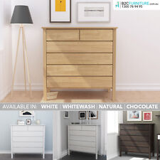 White Tallboy, Chest of Drawers, Natural,Chocolate,Whitewash, Solid timber frame