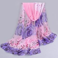 Women Rose Print Chiffon Polyester Scarves Thin Shawl Turban Belt